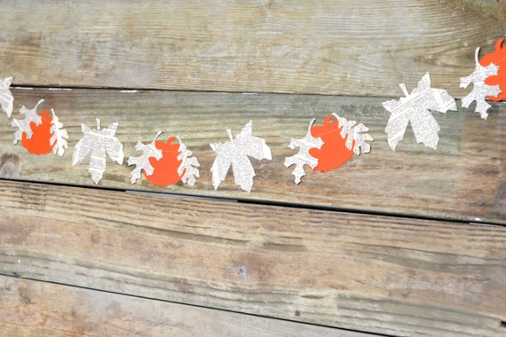 Autumn Leaves and Pumpkins Banner - harvest orange and vintage book paper