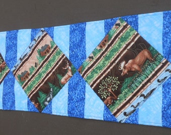 Quilted Table Runner, Moose, Bear, Loons, Wildlife Runner, Made in Maine USA