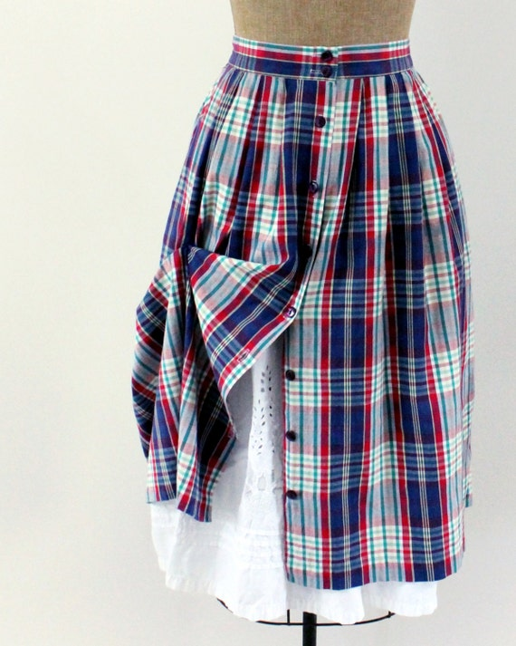80s skirt  - button front gathered skirt - plaid peasant skirt