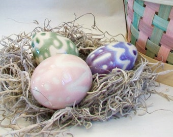 Easter Eggs -- Set of 3 - Porcelain Easter Eggs - Handmade on the Potters Wheel - Hollow, OOAK