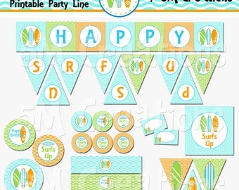 Surfs Up Birthday Party Printable Decoration Package - Surf, Surfing, Beach Party Banner - Surfing Birthday Printable - INSTANT DOWNLOAD Pdf