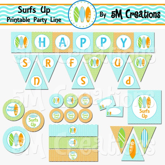 Surfs Up Birthday Party Printable Decoration Package - Surf ...