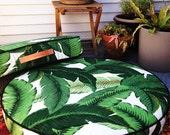 Round Floor Pillow, floor cushion, ottoman, indoor/outdoor pillow in Tahiti