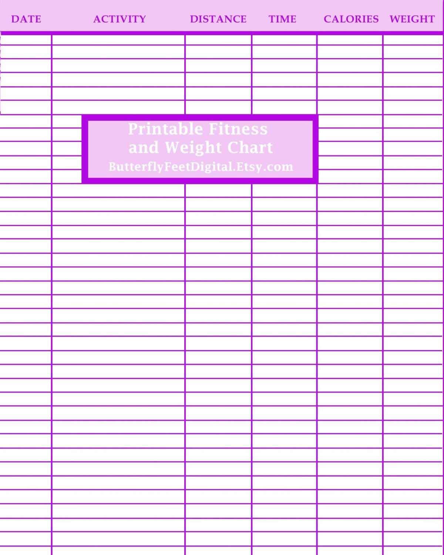 Printable Weight Loss Log: Printable Fitness Journal Weight Loss Chart Exercise Log