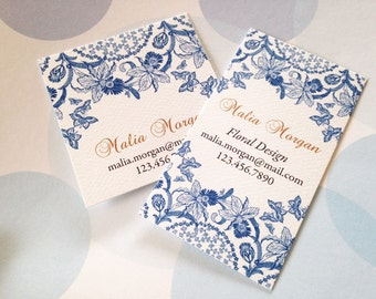 Personalized Blue Floral Business Cards, Custom Business Cards