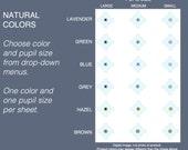 Choice: One Size Light Shades mini eyeballs, 2mm, 3mm, 4mm Natural Human Eye Colors - flat eyeballs