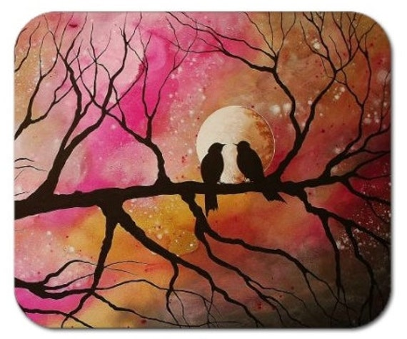 Mousepad Mouse Pad Fine Art Painting Majestic Evening Pink Gold Sepia Silhouettes Love Birds Moon Stars Branches