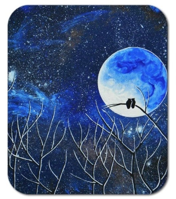 Mousepad Mouse Pad Fine Art Painting Sapphire Owl Evening Night Sky Stars Starry Moon Two Owls Love Romance Trees Moonlight Royal Blue