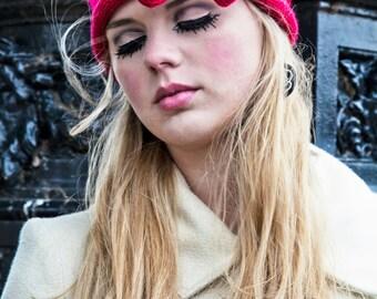Cherry Red Knitted Bow Headband, Knitted Headband, Oversized Bow Headband, Cute and Cosy Ear Warmer