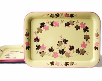 Vintage TV Trays | Set of Four | Pink and Yellow | Leaf Pattern