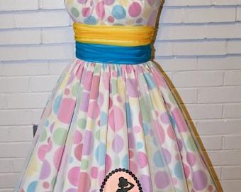 Draper Hostess Dress-Rockabilly Party-Polka Dot Satin-Wedding Guest-Custom Made to Size