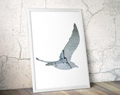 flying seagul silhouette in light blue, digital silhouette art, 11x14 print, wodland decor, animal art, reclaimed wood, scandinavian decor