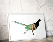 pheasant silhouette in green, digital silhouette art, 11x14 bird poster, living room decor, minimal animal art, orange, industrial decor