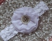 White Vintage Flower with Pearls & Rhinestones on White Lace Baby Headband - Newborn Infant Girl Teen Adult - Photo Prop