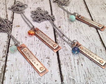 Hand stamped skinny riveted tags personalized sterling silver copper swarovski crystal accent rustic boho style word mantra name jewelry