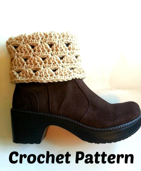 Crochet Boot Cuff Easy Pattern : Crochet Pattern Boot Cuff Simple Shell Crochet Boot Toppers