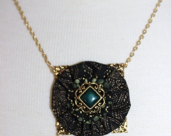 Black and Green With Gold Metallic Yo Yo Fabric Pendant Necklace With Filigree Button Center