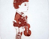 Etching / limited edition original etching (printmaking / graphic art) / original print / original art / violin etching - Boy with a Violin