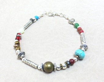 Bronze & Silver Boho Bracelet/ Mixed Bead Bracelet/One-of- a-Kind Bracelet/Czech Glass Beads/Red Jasper/Silver Heart Clasp/Adventurine Beads