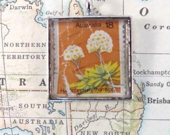 Vintage Australia Postage Stamp Necklace Pendant Key Ring