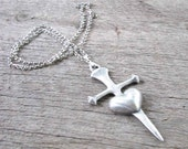 heart & sword necklace / large cross dagger through heart necklace / medieval gothic jewelry