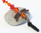 Crystal Dragonfly Charm - Headphone Jack Charm, Red Orange Firestorm Crystal Beads, Copper Plated Wings