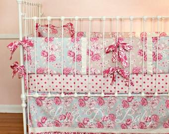 Baby Girl Crib Bedding Sky Bouquet Roses Design