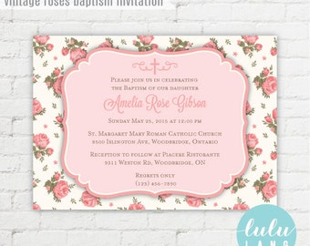 Vintage Roses Baptism Invitation - Printable