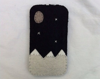 wool felt navy mountain theme cell phone case - iphone 7, iphone 5, iphones 6, iphone 6 plus, iphone se, samsung galaxy s4 s5 s6