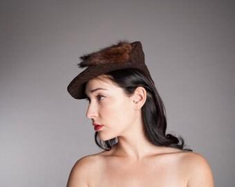 Brown 40s hat - Vintage 1940s Beret - Roubaix Beret Hat