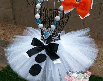 OLAF SNOWMAN- White and Black snowman  infant/child Tutu with hairbow:  Newborn-5T