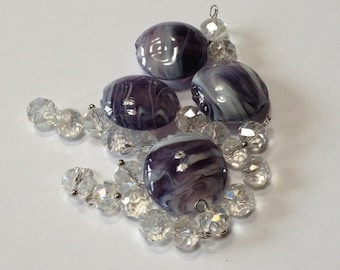 Vanilla Plum - Lampwork Glass and Faceted Crystal - Bead and Drop Mix - 24 beads