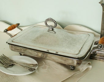 Antique Silverplate Covered Serving Dish with Pyrex Glass Insert     SALE - was 88.00
