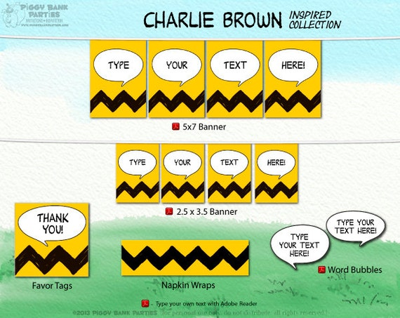 CHARLIE BROWN Inspired Collection DIY Printable Peanuts