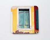 Door Art Coaster, Tabletop Art, Fine Art Housewares, Greek Door, Limey Green, Mediterranean - j2studiosphotography