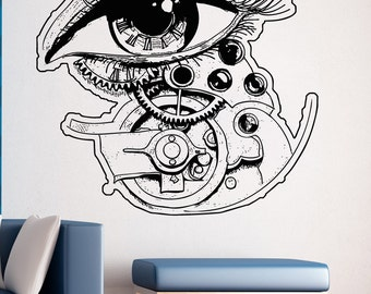 Vinyl Wall Decal Sticker Eye Clock With Gears 5262m