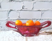 Raspberry Glass Bowl /// Home Decor Fuchsia Pink Center or Display Piece /// Blown Glass Art  FREE SHIPPING