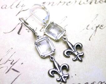 Fleur de Lis Earrings - The Champs-Élysées Earrings - Crystal with Fleur de Lis Charms - Sterling Silver
