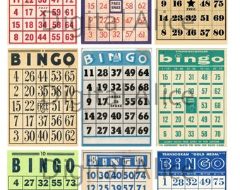 VINTAGE BINGO CARDS -Instant Download Printable - 9 Mini Game Cards and aceo atc trading card size - Digital Download Bingo DiY