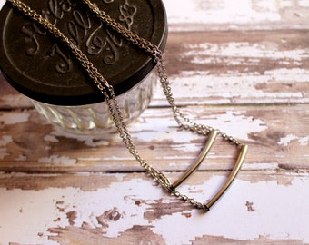 Silver Double Bar Necklace Ladies Jewelry Silver Jewelry Bar Necklace Silver Bar Necklace Double Strand Necklace