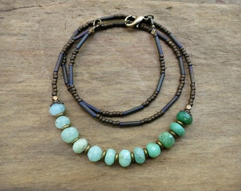 Mint Green Chrysoprase Necklace, everyday Bohemian jewelry with faceted ombre chrysoprase beads and gold brass accents