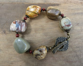 Chunky Jasper Statement Bracelet, rustic Bohemian multicolored Picasso jasper nugget bracelet with large stone pebbles