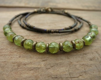 Rustic Green Peridot Necklace, everyday jewelry with green peridot and gold brass, beaded August birthstone necklace, perfect for layering
