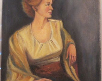 Vintage Oil Portrait CHIC  Strawberry Blonde Woman w/ WRAP Signed c. 1974 Painting