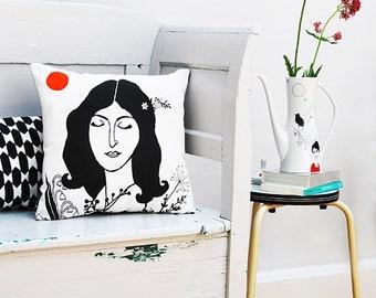 Cushion Cover Ida, with fluor orange