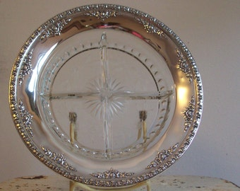 Vintage sterling Wallace sterling Royal Rose sterling and cut glass divided dish Royal Rose 1962 great condition free shipping to USA