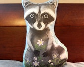 Baby Raccoon and Flowers Stuffed Toy Pillow