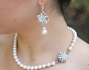 ivory swarovski pearl and crystal necklace Statement Bridal necklace Wedding Rhinestone necklace swarovski crystal and pearl necklace CIARA