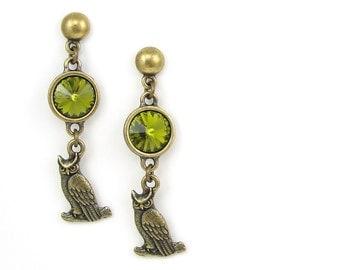 Owl Jewelry - Owl Earrings Stud Posts - Antique Brass Earrings with Olive Olivine Green - Rustic Woodland Owl Dangle Earrings