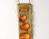 Stacked Orange Pumpkins Welcome Sign, Pumpkins Painted on Barn Wood, Folk Art Pumpkins, Rustic Barn Wood, Orange Pumpkins, Painted Pumpkins